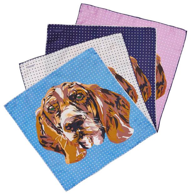 Turnbull & Asser silk pocket squares, £295 each