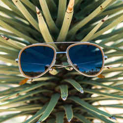 "Vuarnet ""Pilot"" aviators in amber with blue polar lenses ($380) from the Edge Collection"