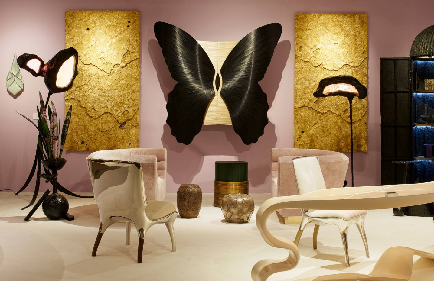 Jean‑Luc Le Mounier's black and gold straw marquetry and bronze Papillon cabinet, from £100,000, from Todd Merrill Gallery