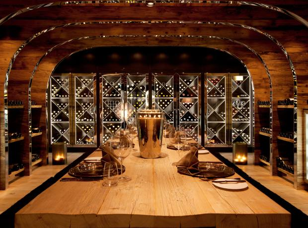 The wine cellar/dining room at 10-suite Chalet N, Oberlech