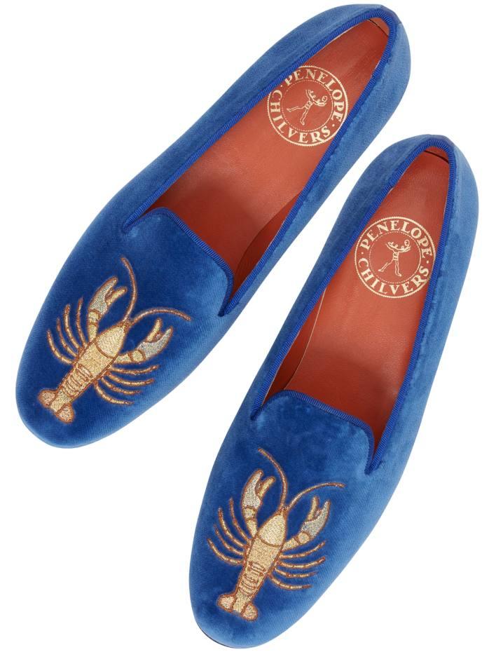 Penelope Chilvers velvet Dandy Lobster slippers, £348