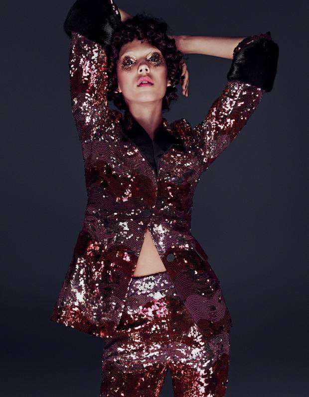 Gucci nylon tulle sequin embroidered jacket with mink detail, £3,680, and matching trousers, £2,210