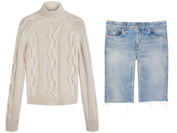 Holland & Holland jumper, £750. Saint Laurent by Anthony Vaccarello shorts, £435