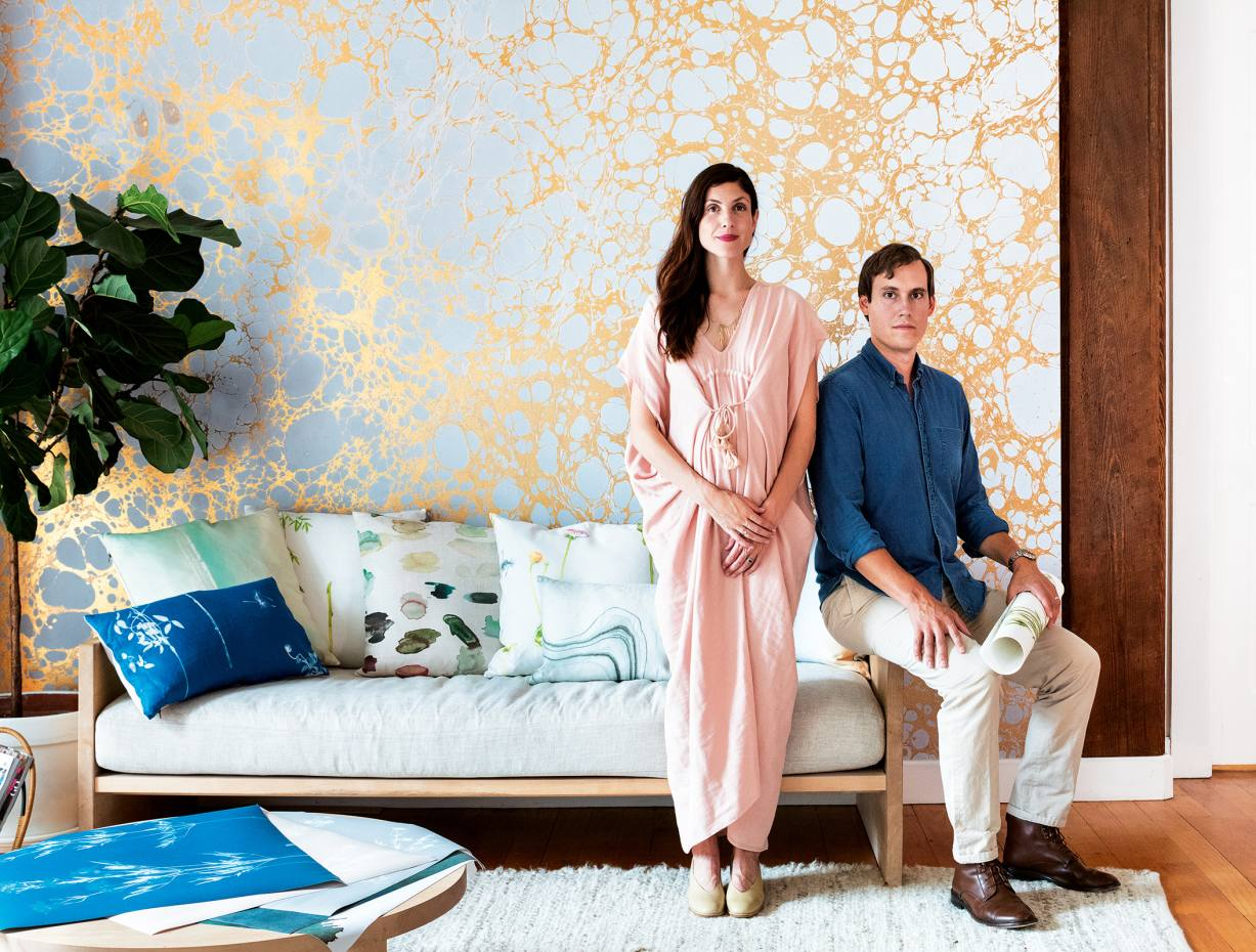 Calico Wallpaper founders Rachel and Nick Cope at their Brooklyn apartment, where most of the brand's early artworks were created