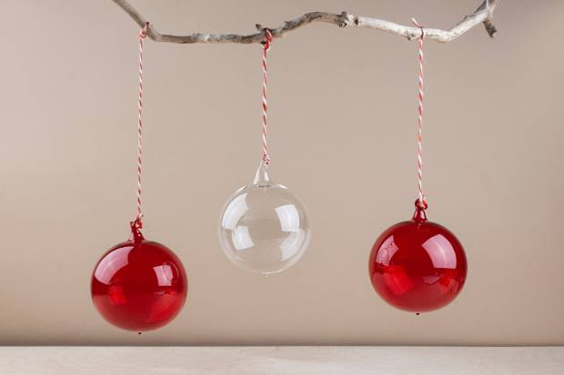 Objects of Use baubles are available in red, clear and purple glass, from £7.25