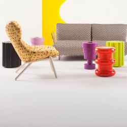 The Kartell Goes Sottsass. A Tribute To Memphis collection, including, in centre, Calice vase, £178 (left), Pilastro stool, £210 (centre) and Colonna stool, £210 (right), all in thermoplastic technopolymer