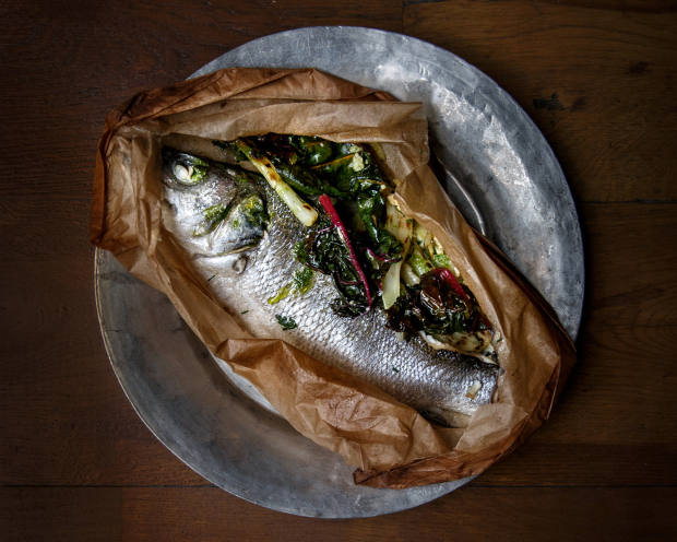 Roast sea bass with fennel, raki and feta, about £10, at Yeni