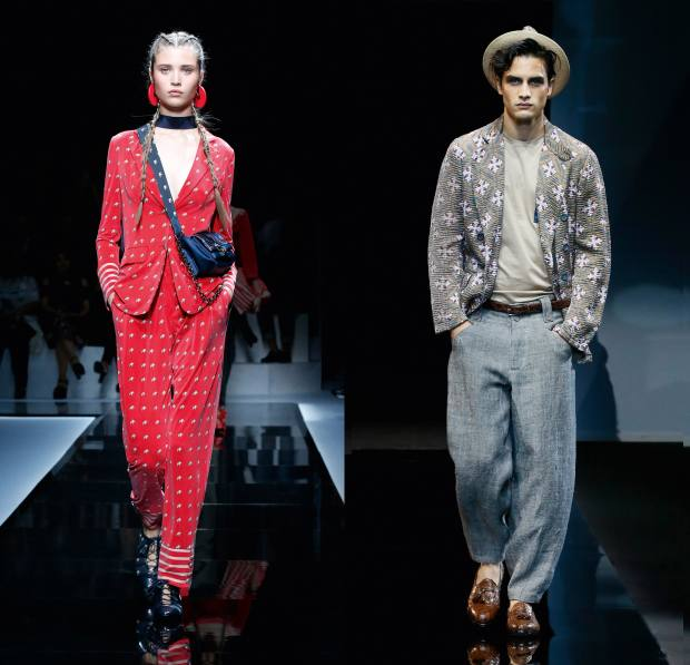 Left: Giorgio Armani cupro jacket, £710, and matching trousers, £500. Right: silk/linen jacket, £1,700, cotton-jersey T-shirt, £260, linen trousers, £780, and jute hat, £270