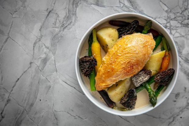 Roast black leg chicken, heritage carrots and morels