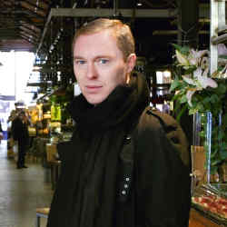 Stuart Vevers at the Plaza San Miguel food market.