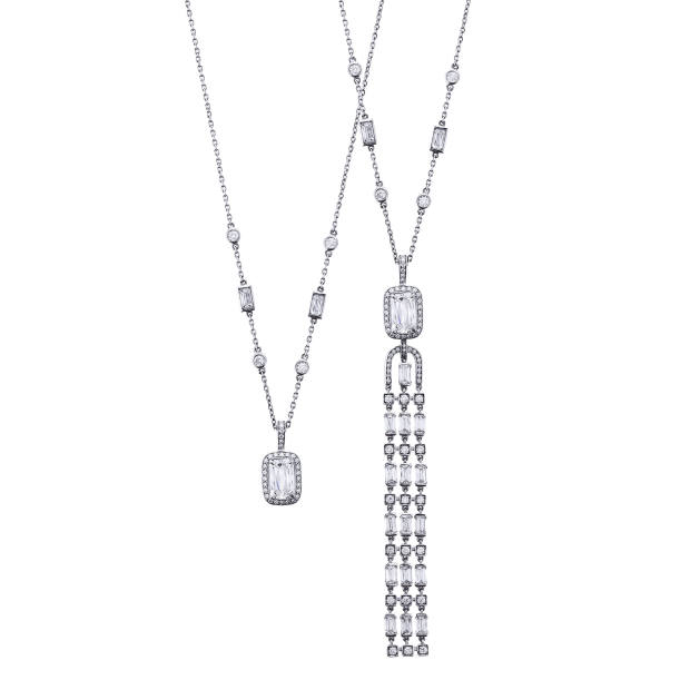Boodles diamond Thrilliant Ashoka pendant on chain with tassel and without, £50,000