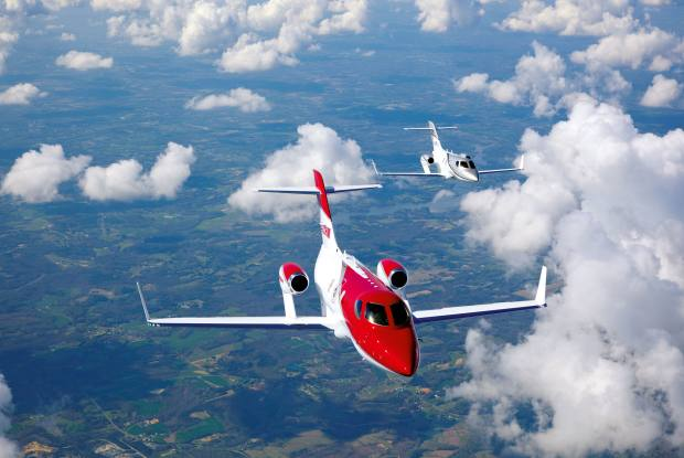 The trailblazing $4.9m HA-420 HondaJet has a dolphin-like shape and engines mounted above the wings, making for a quieter cabin