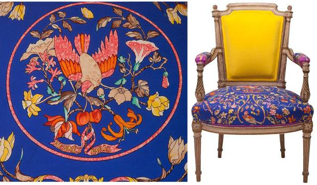 Oscar de la Renta cashmere-backed Louis XVI-style armchair with rare vintage Hermès silk scarf seat cushion, $8,000