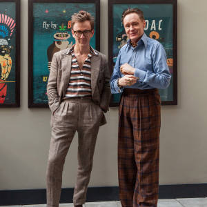 From left: Tom wears Thom Sweeney bespoke suit. Nick wears Kent & Haste trousers