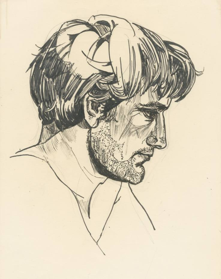 A pen and ink sketch of Hughes drawn by Plath shortly after their wedding in 1956, estimated at £20,000-£30,000