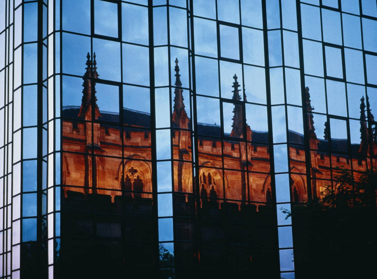 St Andrew's Cathedral reflected in windows.