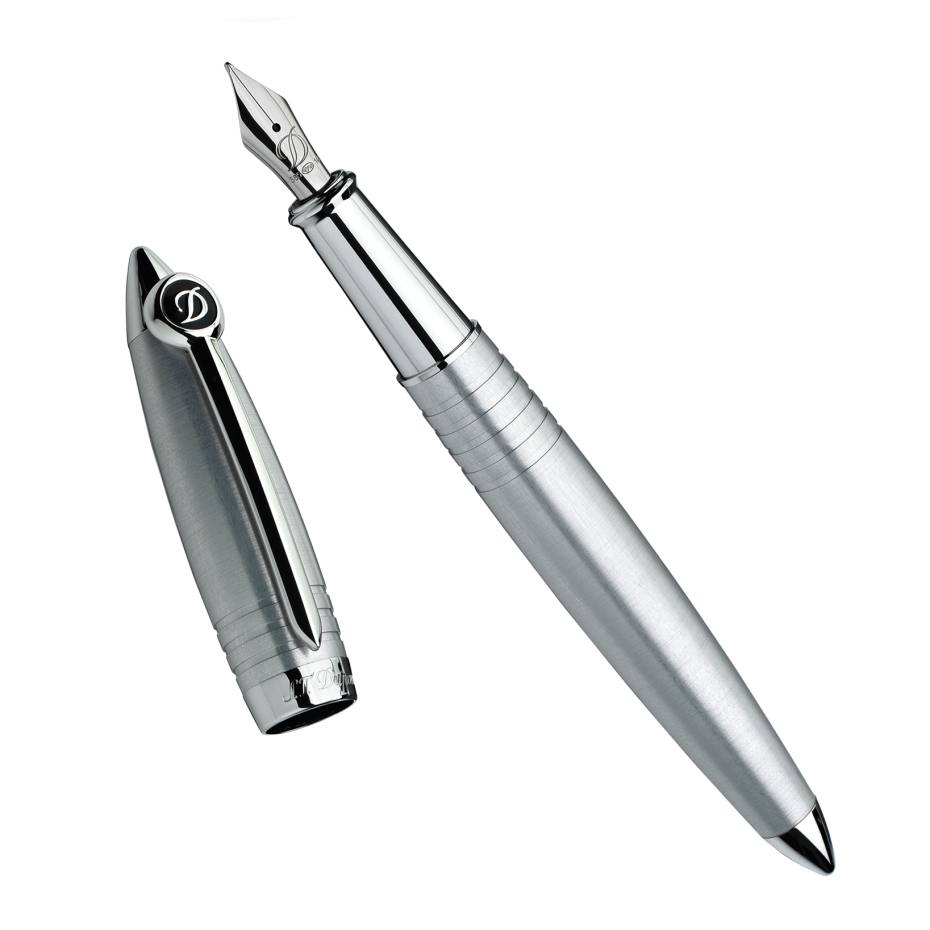 ST Dupont Streamline-R fountain pen in brushed-palladium finish, £545. Also in black
