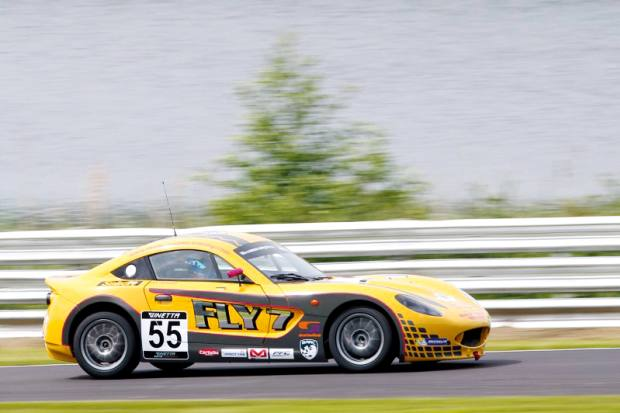Chadwick racing in the 2014 Ginetta Junior Championships in the car her dad gave her