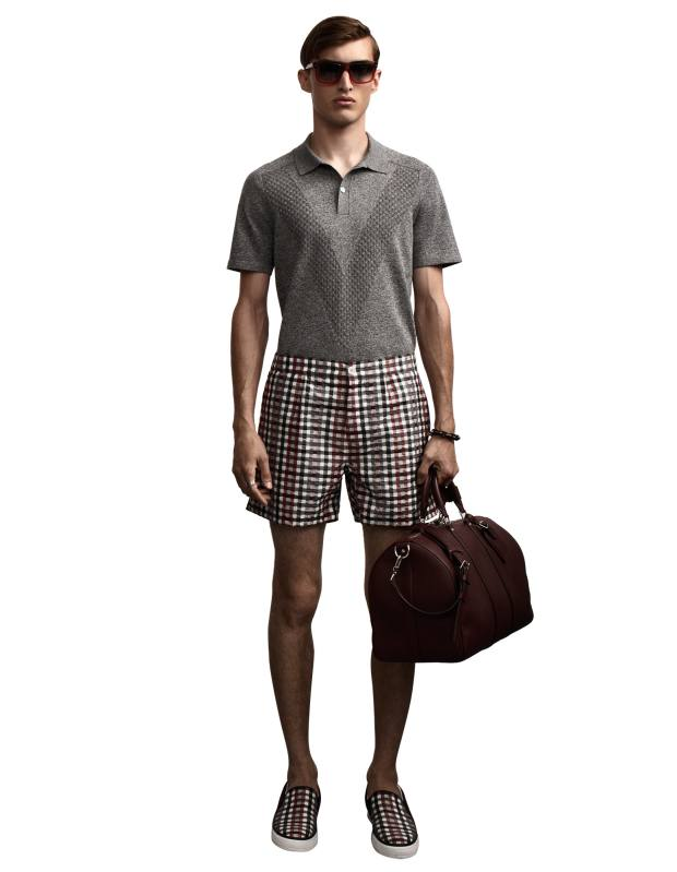 Louis Vuitton cotton-knit Franceont polo shirt, £850, silk shorts, £680, and sunglasses, £360