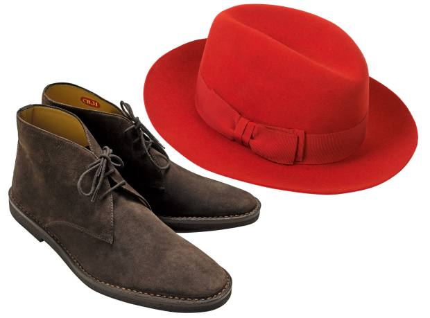 Connolly suede driving boots, £420. Connolly x Mühlbauer wool/fur felt fedora, £270
