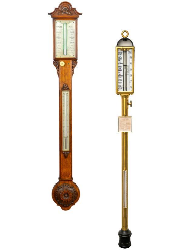 From left: Davis ofLeeds c1830 mercury stick barometer, £2,250, from London Fine Antiques. Negretti & Zambra c1860 stick Met Office barometer, £1,450, from Richard Twort