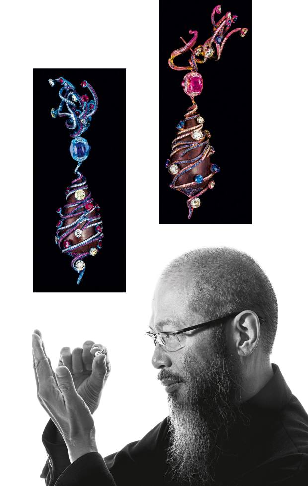 From top: Rosewood, titanium, diamond, ruby, sapphire, aquamarine and pink tourmaline Intertwining Love earrings by Wallace Chan, price on request