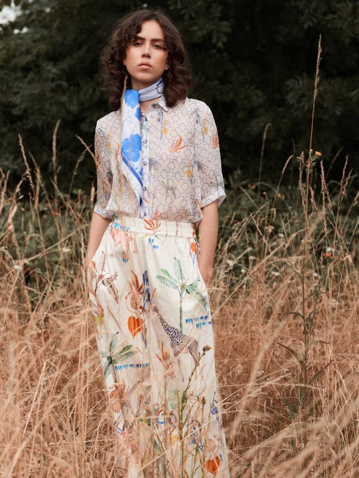 Klements silk-chiffon Mildred shirt, £299, and silk-satin Pluto trousers, £350