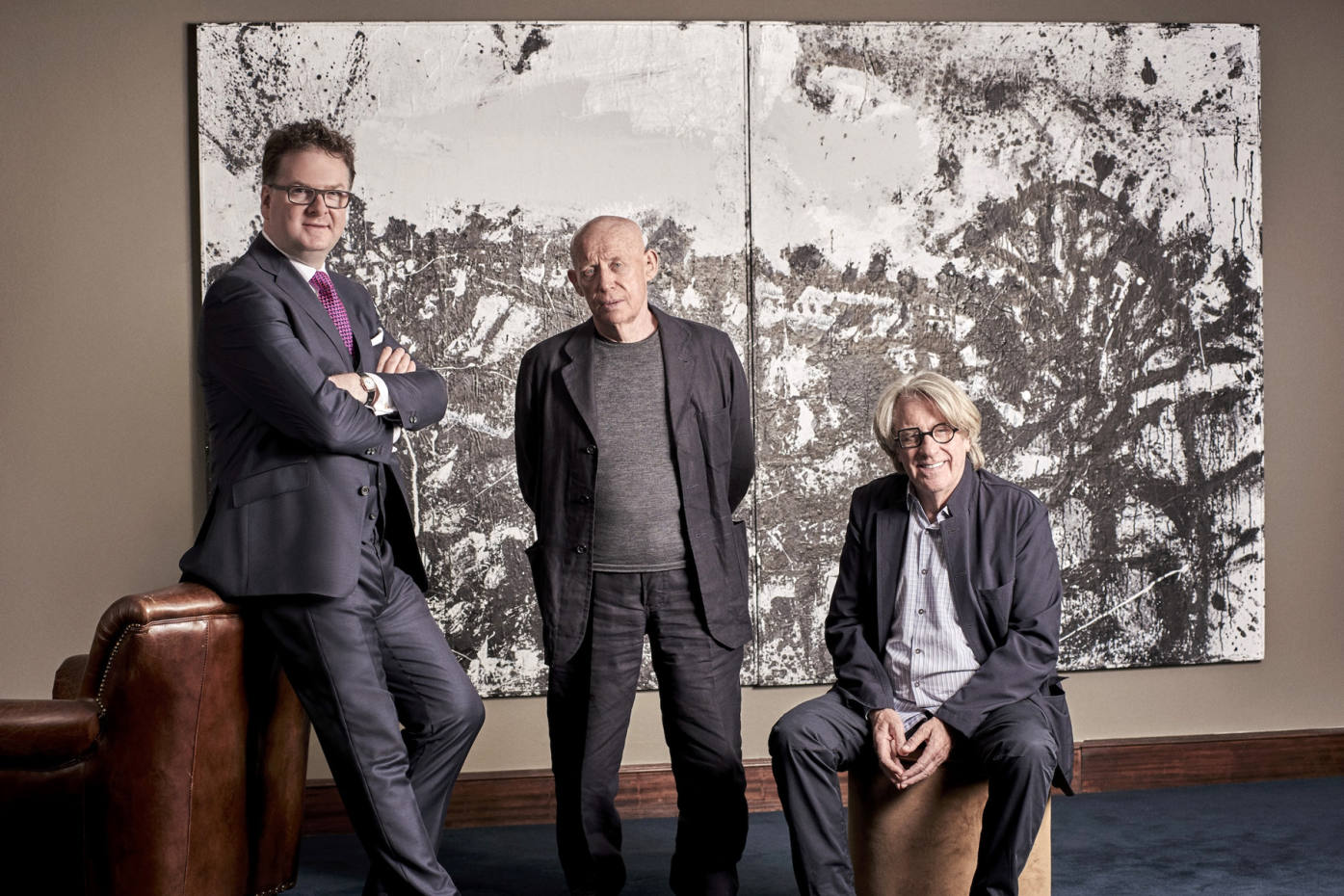 From left: Fortnum CEO Ewan Venters, artist John Virtue and collector Frank Cohen