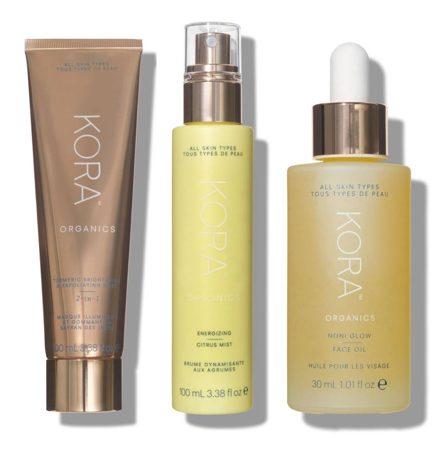 From left: Turmeric Brightening & Exfoliating Mask, £43 for 100ml. Energizing Citrus Mist, £30 for 100ml. Noni Glow Face Oil, £60 for 30ml