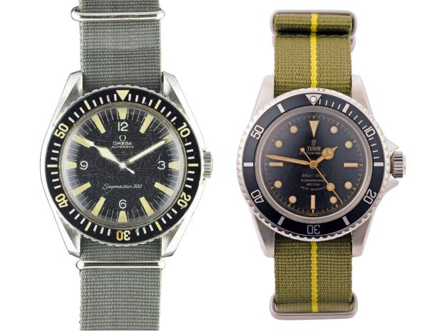 From left: 1967 Omega Seamaster 300, estimate £20,000-£30,000 at Watches of Knightsbridge. A 1962 Tudor Submariner, £12,250 from The Watch Club
