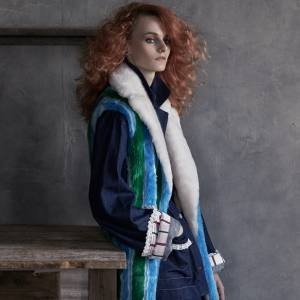 Marco de Vincenzo faux-fur coat, £1,370. Au Jour Le Jour denim jacket, about £525, and matching trousers, about £275