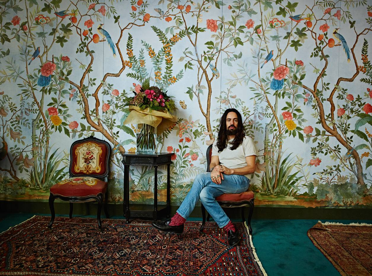 Alessandro Michele in Gucci's redecorated Milan headquarters