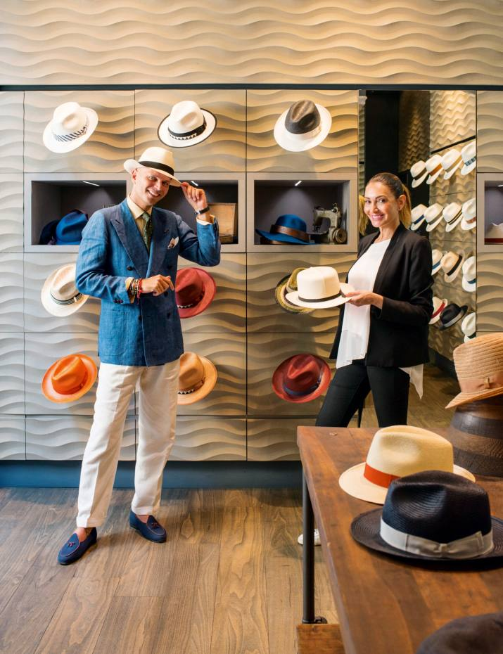 24abfa79c5ec9 Luca Rubinacci with Francesca Martinez at one of two Borsalino boutiques in  Milan