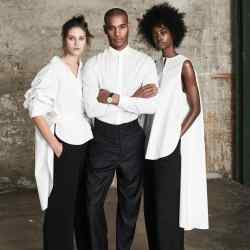 From far left: Charlotte wears Modern Rarity x Palmer Harding cotton shirt, £150, from John Lewis. Boss acetate/viscose/cotton Tewena trousers, £189. Grenson calfskin Rose shoes, £205. Sacha wears Giorgio Armani cotton poplin shirt, £270, and cashmere trousers, £670. Crockett & Jones burnished calfskin Connaught Oxfords, £385. Vacheron Constantin rose gold Patrimony watch on alligator strap, £15,450. Crystal wears Modern Rarity x Palmer Harding cotton shirt, £130, from John Lewis. Haider Ackermann silk-mix trousers, about £915. Grenson calfskin Emma shoes, £230