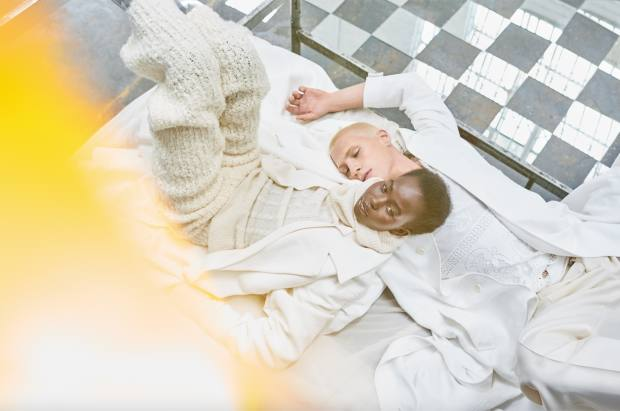 From left: Aweng wears Jacquemus wool coat, £1,150, wool jumper, £300, and wool/nylon trousers, £390. Augusta wears Roberto Cavalli cotton jacquard trench coat, £2,540. Dolce & Gabbana cotton T-shirt, £725. Louis Vuitton cotton/wool trousers, £835