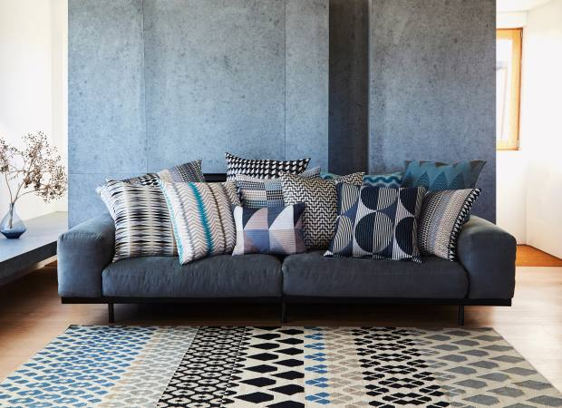 Margo Selby fabric Santa Fe cushions, from £60, and wool and cotton Iceni rug, £495