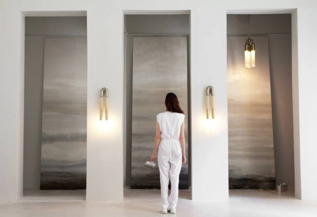 Rachel Cope with Calico's handpainted-linen Fragments wallpaper, price on request