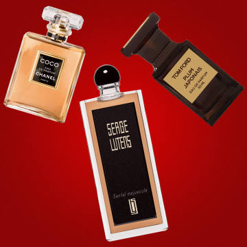 From left: Coco by Chanel, £57 for 35ml EDP. Serge Lutens Santal Majuscule, £110 for 50ml EDP. Tom Ford Plum Japonais, £164 for 50ml EDP