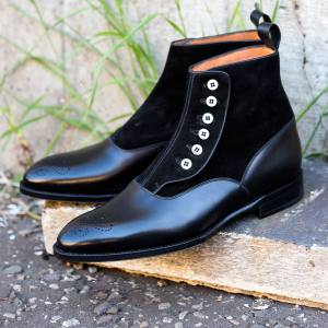 J FitzPatrick leather and suede Westlake button boots, £410