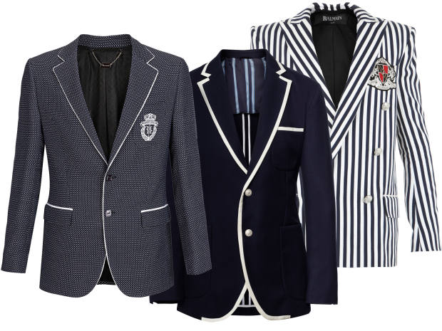 From left: Billionaire cotton blazer, £1,650. Hackett cotton/wool Henley Royal Regatta blazer, £475. Balmain candy-stripe cotton jacket, £2,190