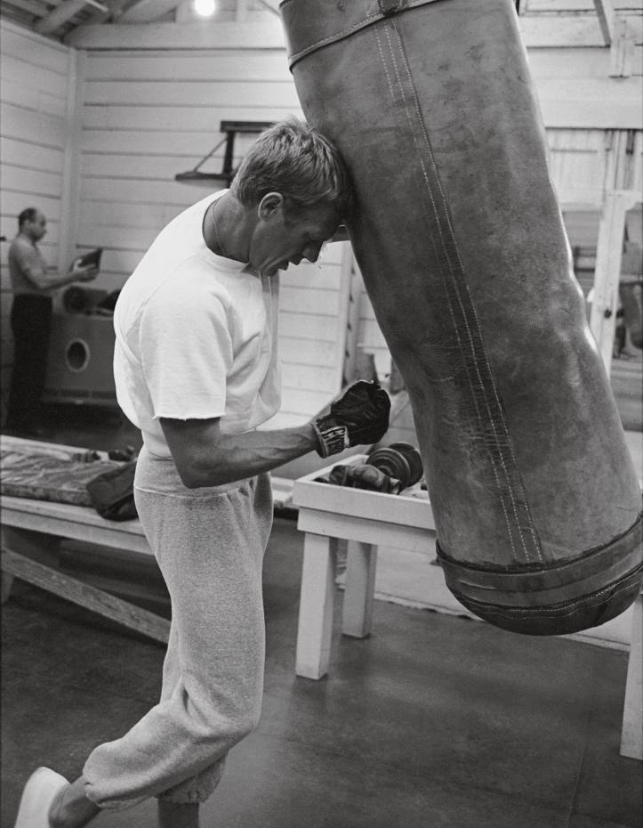 Steve McQueen in the gym at Paramount Studios, 1963