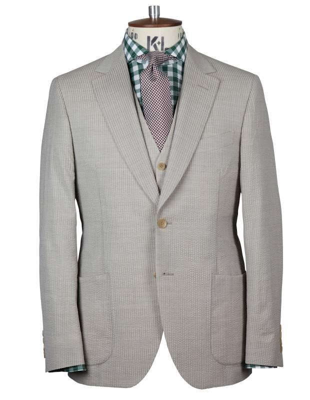 Chester Barrie wool/silk Elverton jacket, £750, and matching waistcoat, £225