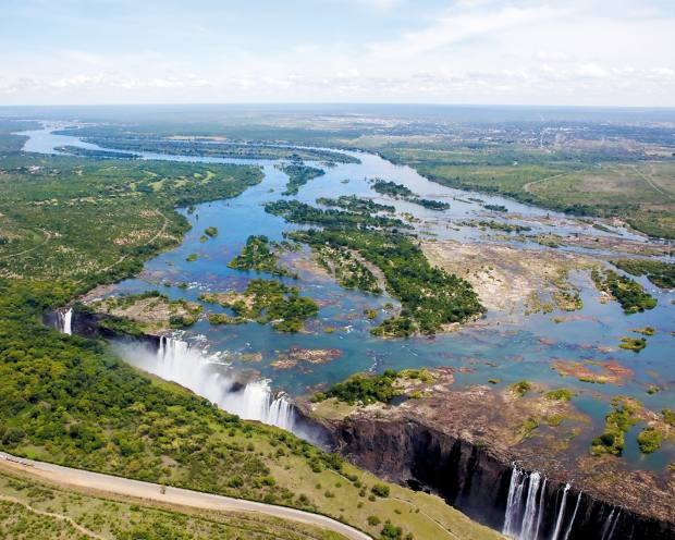 The river plunges 108m into a chasm to form Victoria Falls