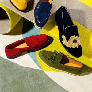 Clockwise from top left: Founders suede loafers, $324. George Cleverley suede slip-ons, £495. Alexander McQueen velvet slip-ons, £745. Ralph Lauren suede loafers, £285. Giorgio Armani suede slip‑ons, £490. From top: Suzanne Sharp wool rug, from £725 per sq m. Tom Dixon wool rug, from £830 per sq m. Both for The Rug Company