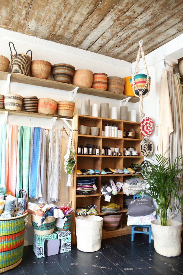 The Kiondo baskets (from £10; £65 for a set of three) highlight thesustainableandethicalethos that runs throughout the shop