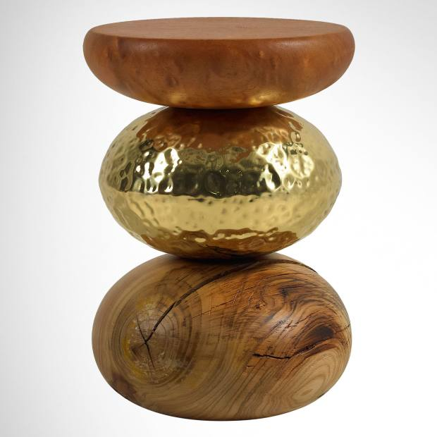 Ginger & Jagger chestnut, hammered metal and cedar Pebble side table, £665