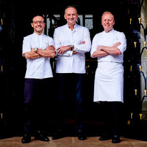 From left: chefs Simone Zanoni, Christian Le Squer and David Bizet