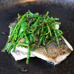 Bream with dulse seaweed butter and herbs