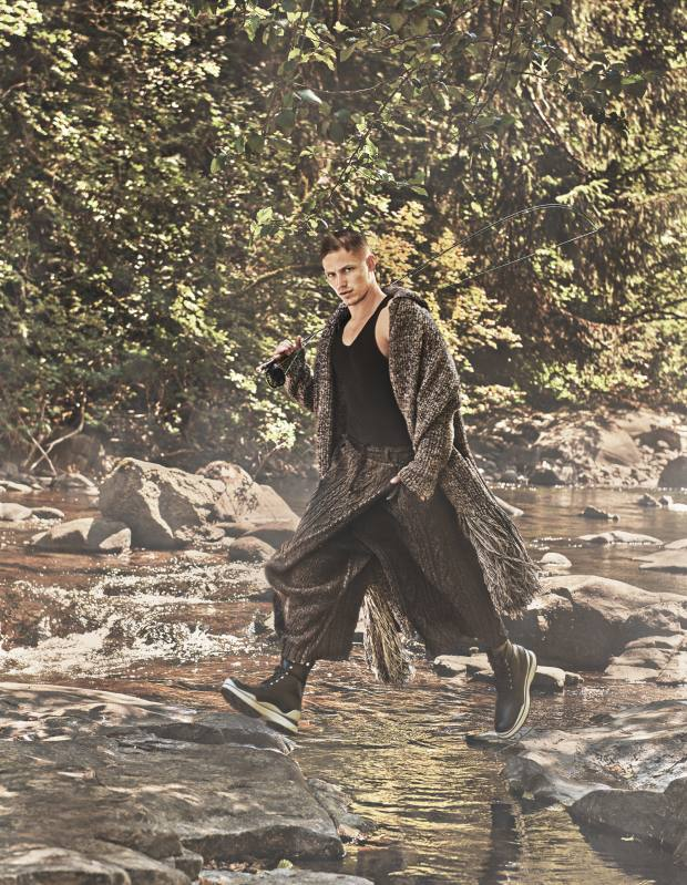 Salvatore Ferragamo wool cardigan, £3,670. Gap cotton vest, £13. Yohji Yamamoto Homme wool trousers, £1,030. Louis Vuitton calfskin Swirl ankle boots, £820