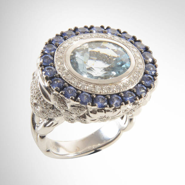 White gold Skull cocktail ring with aquamarine, diamonds and sapphires, £13,680